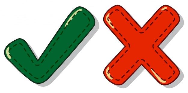 Controleer en kruis markeer symbool