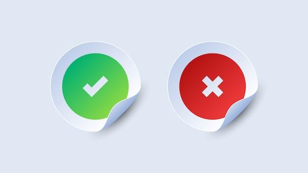 Controleer en kruis papieren stickers