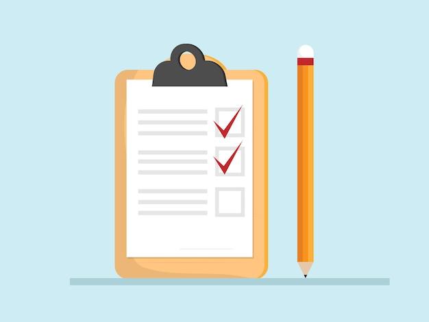 Controleer lijst papier op klembord