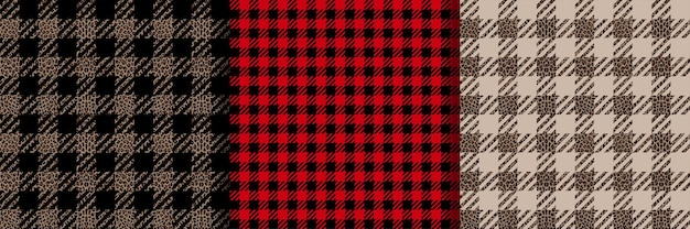 Controleer mode naadloze patronen set vector vichy herhaal achtergronden