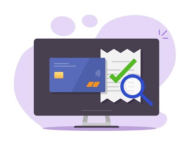 Controleer online betaling van factuurrekening, verifieer vector, fiscaal financieel onderzoek op computerpc
