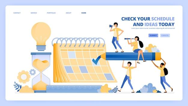 Controleer roosters in de banenkalender. ideeën opdoen in ontmoeting en afspraak. illustratie concept kan worden gebruikt voor bestemmingspagina