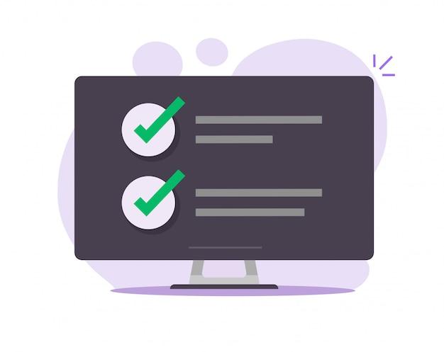 Controleer taak om lijst online rapport op computerscherm te doen