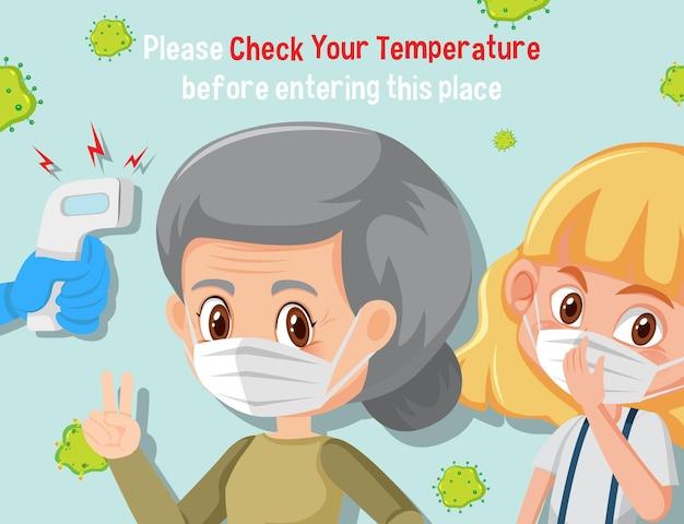 Controleer uw temperatuur voordat u deze plaats binnengaat banner met stripfiguur