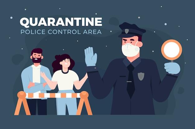 Controlegebied van de politie in quarantaine plaatsen