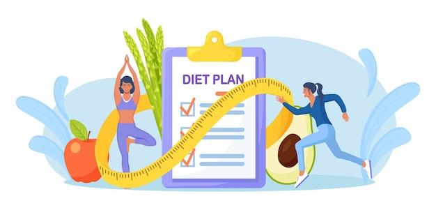 Controlelijst dieetplan. mensen die sporten, trainen en een dieet plannen met groenten en fruit. meisje doet yoga. voeding gewichtsverlies dieet, individuele voeding. gezondheid levensstijl, fitness