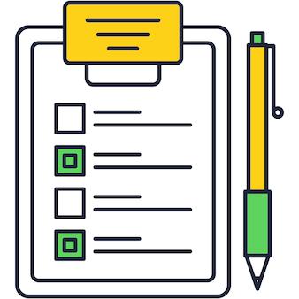 Controlelijst op klembord en pen vector plat pictogram. papieren vragenlijst, medische verzekeringspolis, examentest met vinkje, feedbackformulier voor klanten of onderzoeksenquête op chequebordillustratie