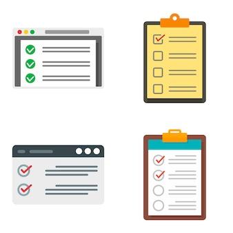 Controlelijst pictogrammen instellen. platte set checklist vector iconen geïsoleerd op een witte achtergrond
