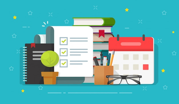 Controlelijstdocument of takenlijst op educatieve desktopwerkplek platte cartoon