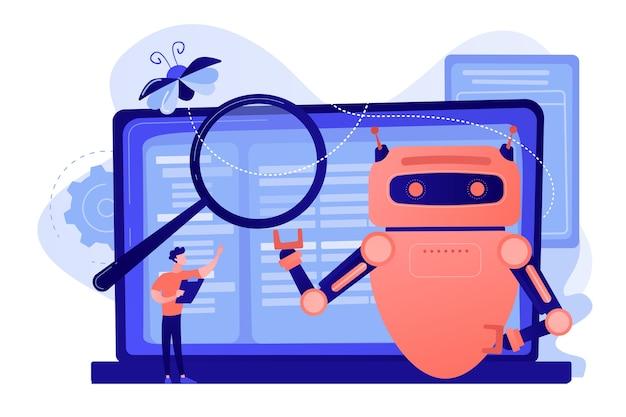 Controller leest voorschriften voor aan robot. regelgeving op het gebied van kunstmatige intelligentie, beperkingen in de ontwikkeling van ai, concept van wereldwijde technische voorschriften
