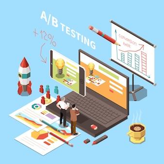 Conversie-optimalisatieconcept met ab-testen van websites verwerken 3d illustratie