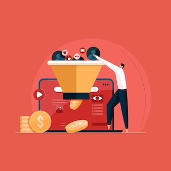 Conversie van online promotie en marketing verdien geld met leadgeneratie en trechterverkoop