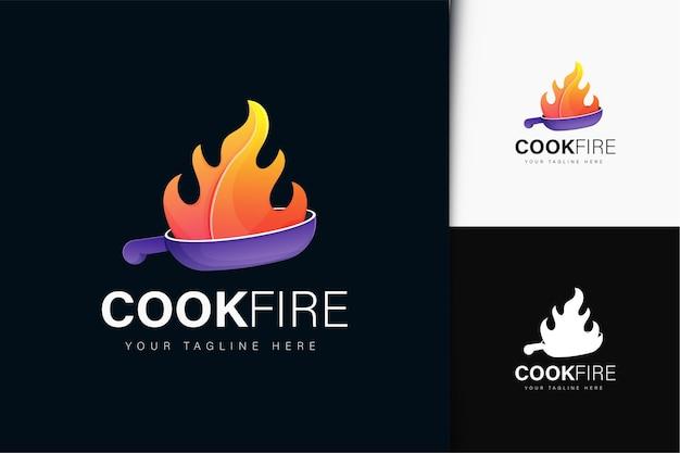 Cook fire logo-ontwerp met verloop