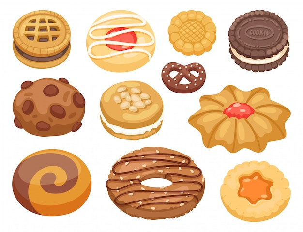 Cookie cakes bovenaanzicht zoete zelfgemaakte ontbijt bakken voedsel koekje bakkerij cookie gebak illustratie.