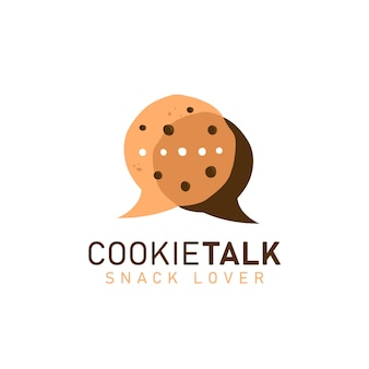 Cookie cookies praten logo pictogram symbool met twee cookies in bubble comic spreken discussie talk vorm illustratie