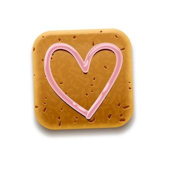 Cookie met hart, geïsoleerd op wit
