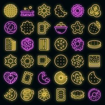 Cookie pictogrammen instellen. overzicht set van cookie vector iconen neon kleur op zwart