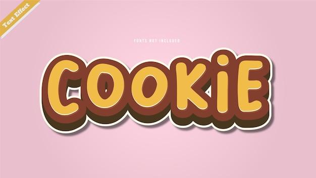 Cookie-teksteffect ontwerp vector 3d-stijl bewerkbaar lettertype-effect.