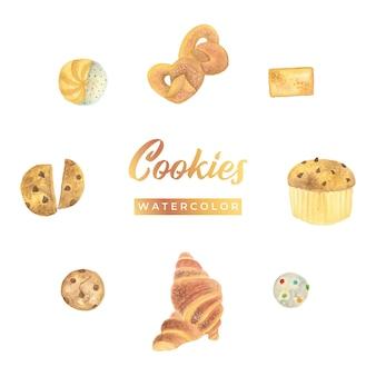 Cookies aquarel ontwerp illustratie