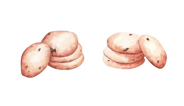 Cookies ingesteld. aquarel illustratie.