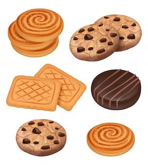 Cookies. koekjes met chocolade en roomstukken snacks gekookte snoep realistische sjabloon