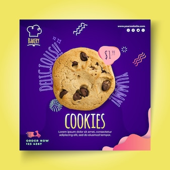 Cookies kwadraat flyer-sjabloon