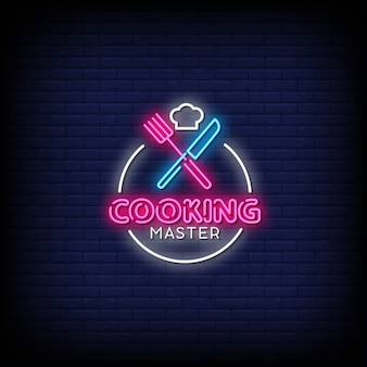Cooking master neon signs style text