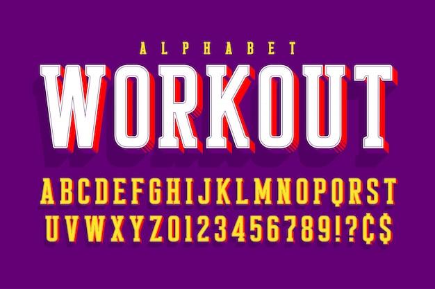 Cool 3d-ontwerp van alfabet, lettertype, lettertype,