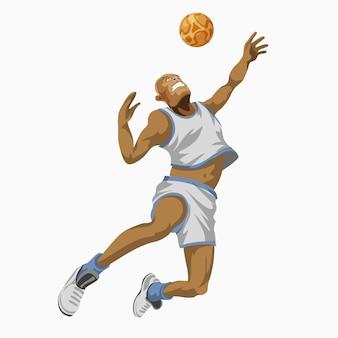 Cool basketbalspeler in wit uniform met de bal gestileerde speler geïsoleerd plat cartoon