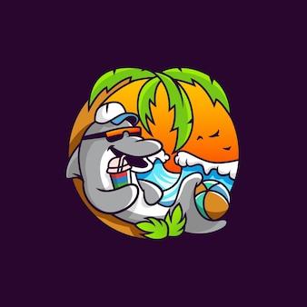 Cool beach dolphin cartoon artwork vector