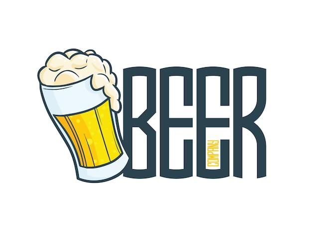 Cool bier bedrijfslogo sjabloon in cartoon-stijl
