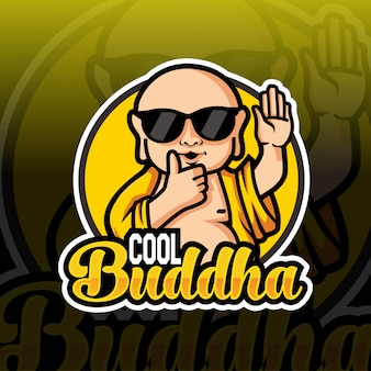 Cool boeddha mascotte esport logo ontwerp
