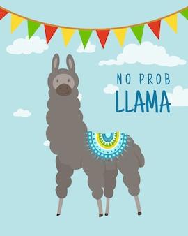 Cool cartoon doodle alpaca belettering citaat met geen prob lama. grappig dieren in het wild dier