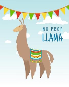 Cool cartoon doodle alpaca belettering citaat met geen prob lama