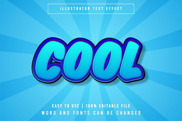 Cool, cartoon style bewerkbaar teksteffect