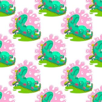 Cool dino doodle vector patroon