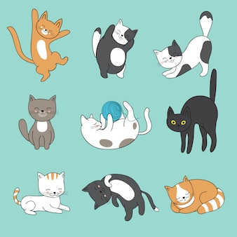 Cool doodle abstracte katten karakters. hand getrokken cartoon kittens