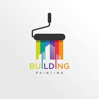 Cool gebouw verf logo stijl, modern, verf, schilderen, constructie, bedrijf, bedrijf,