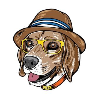 Cool hipster beagle hond geïsoleerd op wit