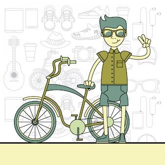 Cool hipster guy cartoon