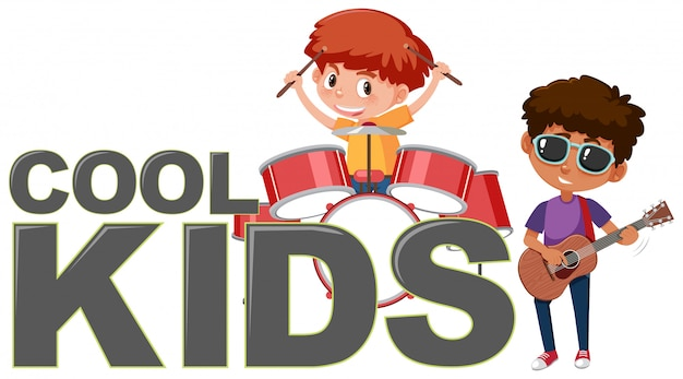 Cool kinderen pictogram op witte achtergrond