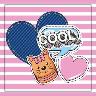 Cool kitty tekstballon hart en denim