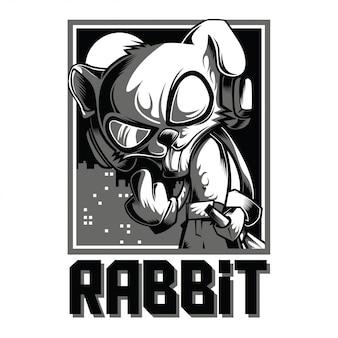 Cool konijn zwart en wit illustratie