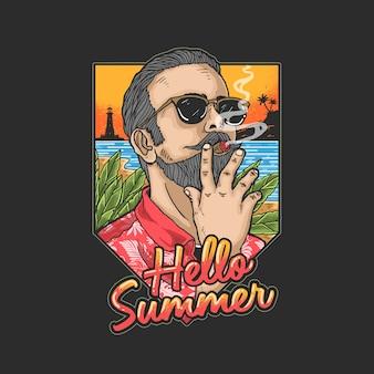 Cool man is op vakantie op een tropisch strand onder het genot van een sigaar