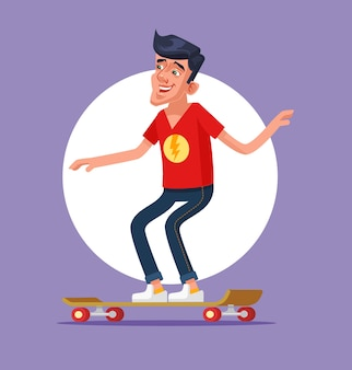 Cool man karakter met afhaalmaaltijden koffie board skateboard.