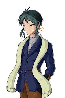Cool man met sjaal karakter illustratie