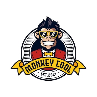 Cool monkey head logo vector illustratie