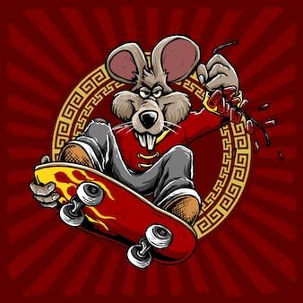 Cool muis rijden op een skateboard met vuurwerk