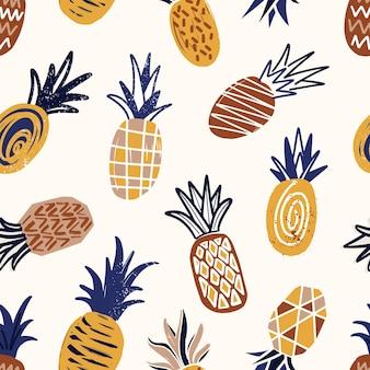 Cool naadloos patroon met getextureerde ananas