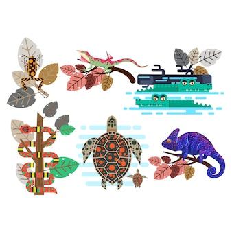 Cool platte dieren vector sjabloon